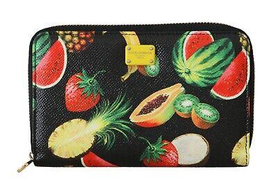 NEW $540 DOLCE & GABBANA Wallet Fruit Leather Dauphine Zip Around Continental