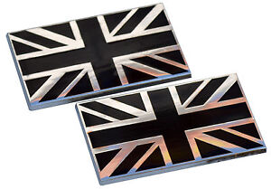 UNION JACK FLAG BODY BADGES - BLACK (PAIR) SELF ADHESIVE