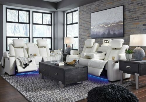 Ashley Furniture Party Time Power Recliner White Sofa and Loveseat Living Room
