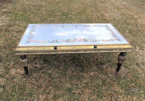 Vintage Art Nouveau Reverse Painted Mirrored Coffee Table, Hollywood Regency