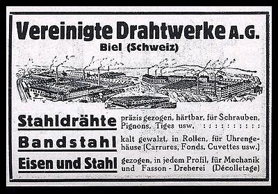Alte Reklame 1928 Vereinte Drahtwerke Biel Schweiz Stahldrähte Bandstahl ...