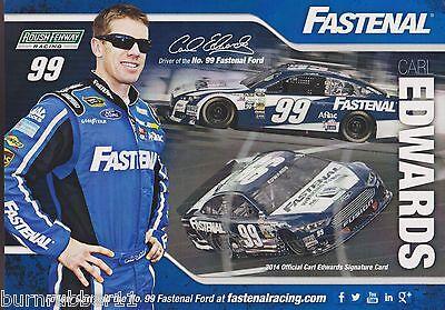 2014 Carl Edwards  Fastenal   99 Nascar Sprint Cup Series Postcard