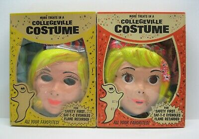 Scary Fairy Costumes (Vintage Scary Creepy Girl's Halloween Masks Costumes Cinderella & Blue)