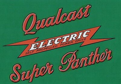Qualcast Super Panther ELECTRIC Vintage Mower Repro Decals for sale  Shipping to Ireland