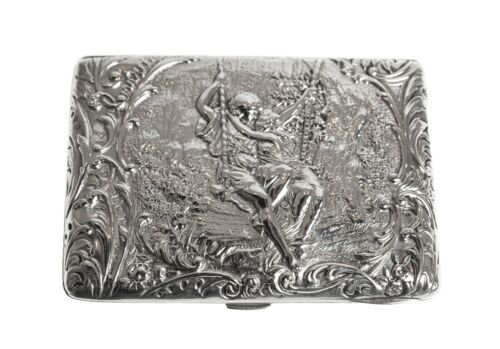 Fine Antique Silver Card Case / Purse Pictorial with Lovers on Swing Silk Lined