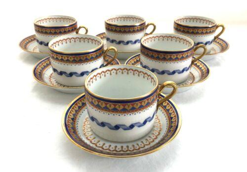 A Truly Rare Set of 6 Richard Ginori Villa Borghese Tea Cups & Saucers