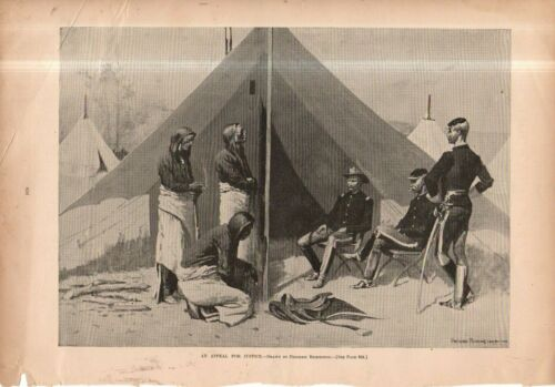 1892 Harpers Weekly July 9 original print - Sioux indians ask for justice - SD