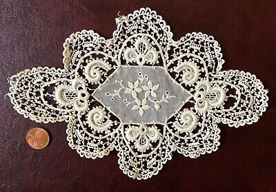 Vintage embroidered and schiffli lace small center piece COLLECTOR QUALITY