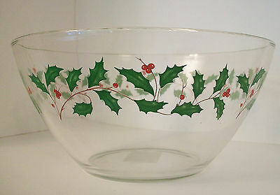 Lenox Holiday Salad /Serving Bowl Clear Glass Holly Motif 24K Gold Rim
