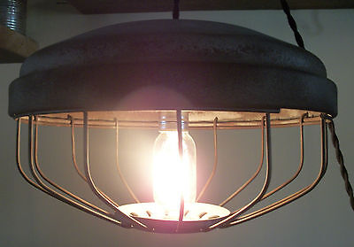 Antique Chicken Feeder Pendant Ceiling Light Fixture-Vintage/Industrial/Farm/OLD