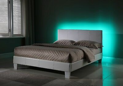 Upholstered Queen Bed with LED Lights in the Headboard for a nightlight effect  ()