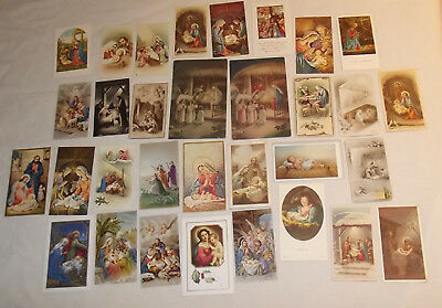 32 Christmas Themed Holy Cards Vintage & Contemporary 2 Post Card Size VeryClean ()