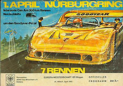 Programm 1973 ADAC 300km Nürburgring TW GT-EM DRP F3 Interserie Can Am Kauhsen