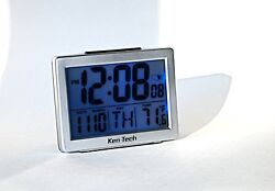 RADIO CONTROLLED ATOMIC ALARM CLOCK with BRIGHT BLUE DISPLAY BACKLIGHT