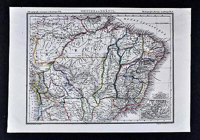 1835 J.G. Heck Map - Empire of Brazil - Rio de Janeiro Sao Paulo Recife Salvador