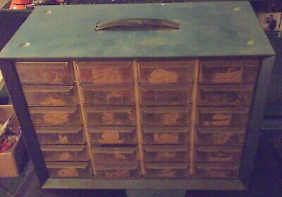 Vintage Blue Metal Akro Mills 24 Drawer Storage Organizer Scrapbooking Crafts