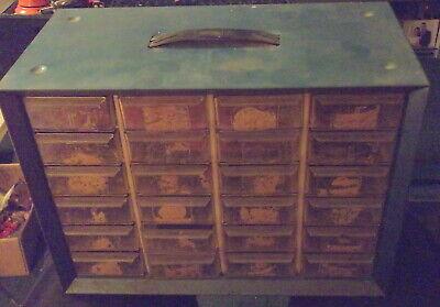 Vintage Blue Metal Akro Mills 24 Drawer Storage Organizer