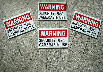 4 WARNING SECURITY CAMERAS IN USE Coroplast  YARD SIGNS 8x12