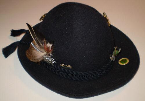 Capo German Austria Tryolean Hat Oktoberfest Blue Hat St Wolfgang & Stag Fur Pin