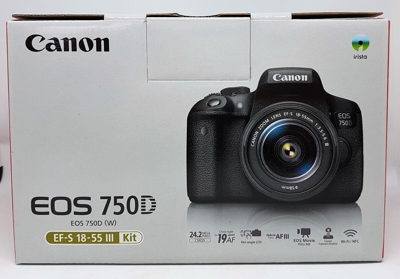 Canon EOS 750D APPAREIL PHOTO REFLEX 24.2 MP KIT + EF-S 18-55 III objectif Neuf