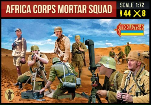Strelets #280 Africa Korps Mortar Squad WWII 1/72 Scale in gray 44 Figures 8 tub