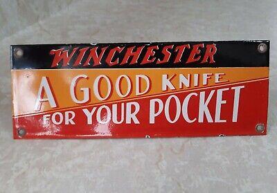 1940'S VINTAGE WINCHESTER PORCELAIN ADVERTISING POCKET KNIFE SIGN
