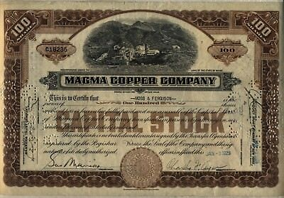 Magma Copper Company Stock Certificate Maine Mining