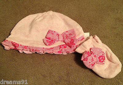 Princess Aurora Layette Hat Cap & Mitten Set Baby Infant Disney 0-6 Month NWT - Layette Hat Cap