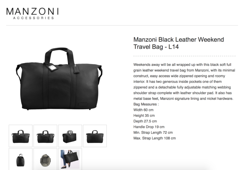 c5781e832b MANZONI BLACK LEATHER COW HIDE WEEKENDER TRAVEL BAG ...