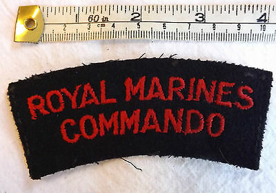 Original Military WW2 Royal Marines Commando Cloth Shoulder Title Badge (3075)