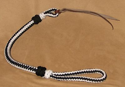 Western Riding Quirt with Wrist Loop Braided Nylon BLACK & WHITE New Horse Tack