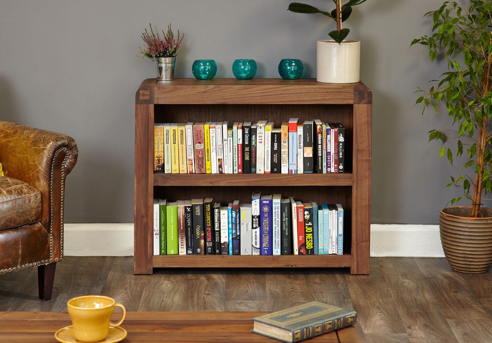 Shiro Premium Dark Wood 2 Shelf Bookcase Low Display Modern Solid Walnut 5060164712398 Ebay