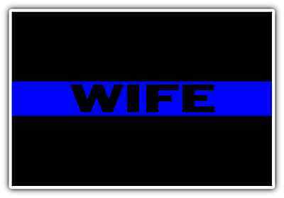 """Thin Blue Line Police Wife Officer Support Car Bumper Vinyl Sticker Decal 5X3.5"""""""
