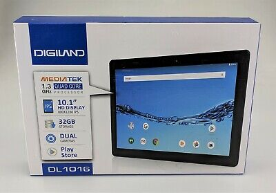 "Digiland Quad Core 10.1"" DL1016 32GB Android Tablet Black In Box Excellent Shape"