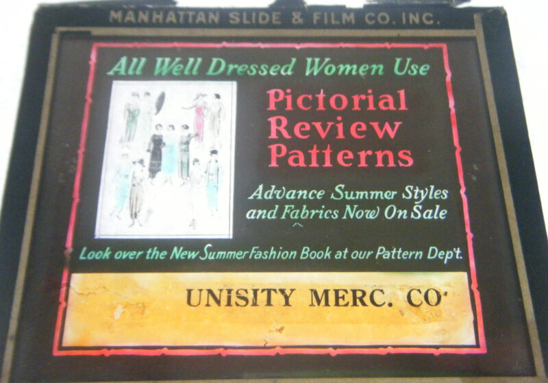 Pictorial Review Patterns Magic Lantern Glass Slide Women's Fashion Clothes
