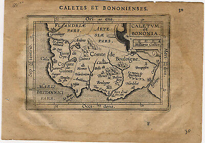 1609 Genuine Antique miniature map northern France, Boulogne, Calais. Ortelius