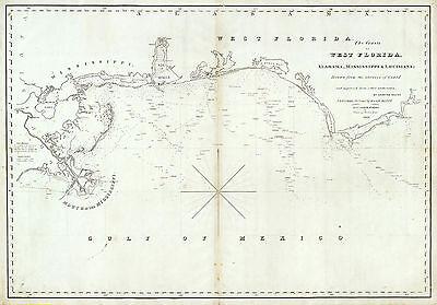 1828 Map Nautical Chart Coasts of West Florida, Alabama, Mississippi & Louisiana