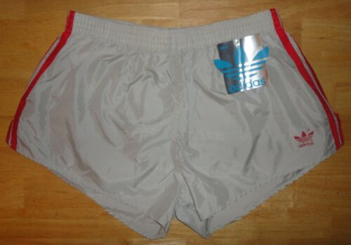 Vintage Mens ADIDAS TREFOIL Gray & Red Track Running Shorts - XL *NEW W/ TAGS*