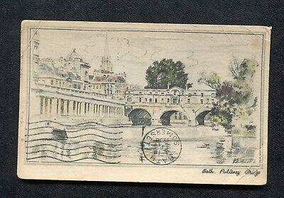 Posted 1938 Art Card: Pulteney Bridge, Bath