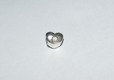 Pandora Sterling Silver HEART with Clear CZ Charm Bead