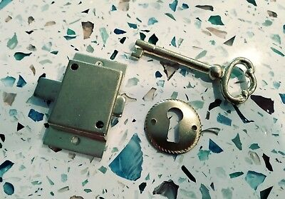 Cabinet Lock Set Surface Mount Lock, Key, Escutcheon Plate Keyhole Door Drawer (Drawer Lock Surface Mount)