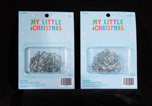 Tiny Silver Tone Miniature Feather Tree Ornament Hangers - NIB