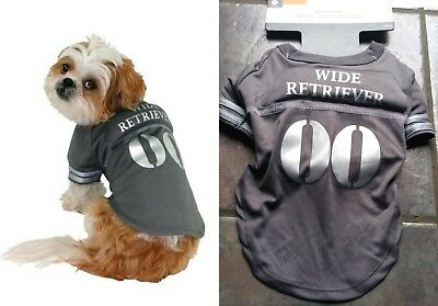 DOG HALLOWEEN COSTUME-PET T-SHIRT FOOTBALL WIDE RETRIEVER GREY SILVER MUSCLE S  - Bichon Frise Halloween Costumes