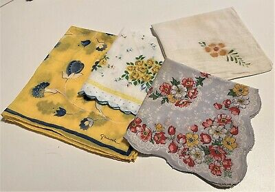 Lot of 4 Yellow Print Vintage Handkerchiefs (1 Artist Signed: Guarch)