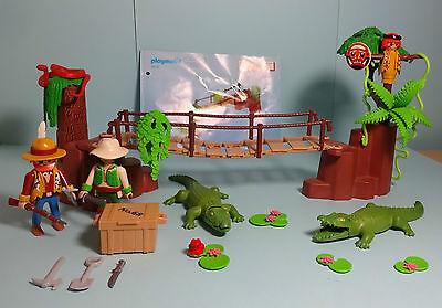 Playmobil Dschungel/ Jungle ~ Alligatorschlucht/ Crocodile Swamp & Manual (3016)