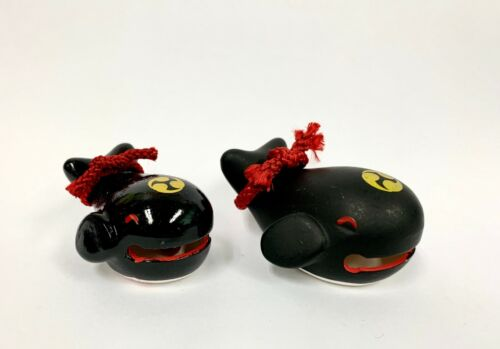Vintage Japanese KOKESHI Doll Dorei Black Baby Whale Fish Clay Bell Lucky Charm