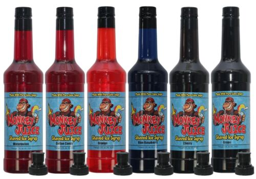6 Bottles of Shave Ice Syrup - Made with PURE CANE SUGAR