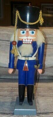 "Original Vintage Erzgebirge Expertic Christmas Nutcracker Soldier Wooden 11"""