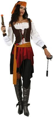 Costume Pirate Carribean Womens Ladies XL 44 Adult Buccaneer Corsair New Cheap](Cheap Womens Pirate Costume)