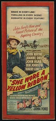 SHE WORE A YELLOW RIBBON Movie POSTER 14x30 John Wayne Joanne Dru John Agar Ben